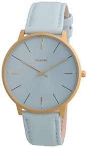Pilgrim Minimalistic gold plated and blue watch