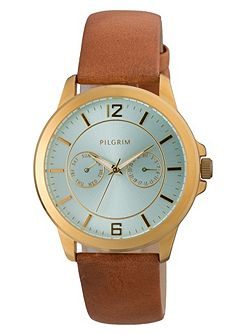 Classic gold plated and brown watch