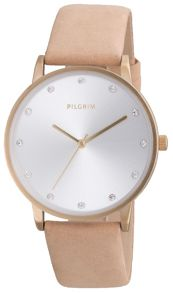 Pilgrim Classic gold plated and brown watch