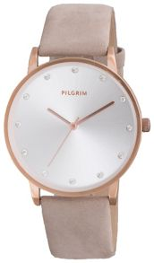 Pilgrim Classic rose gold and grey crystal watch