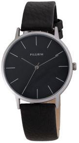 Pilgrim Simple silver plated and black watch