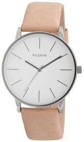 Pilgrim Simple silver plated and brown watch
