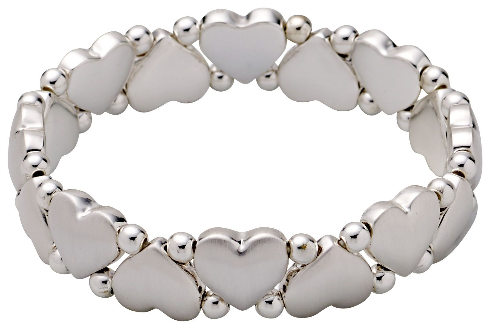 Pilgrim Silver-plated hearts and pearls bracelet, N/A