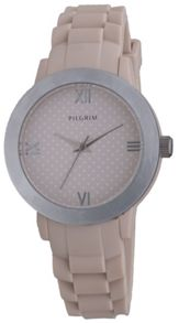 Pilgrim Pretty silver plated and brown watch