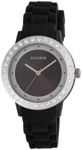 Pilgrim Silver plated and black crystal watch