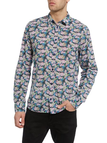Casual Friday Print Slim Fit Long Sleeve Classic Collar Shirt