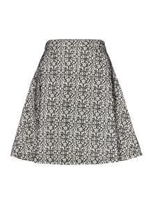 Lace overlay flare skirt