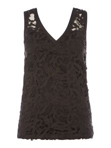 Lace round neck tank top
