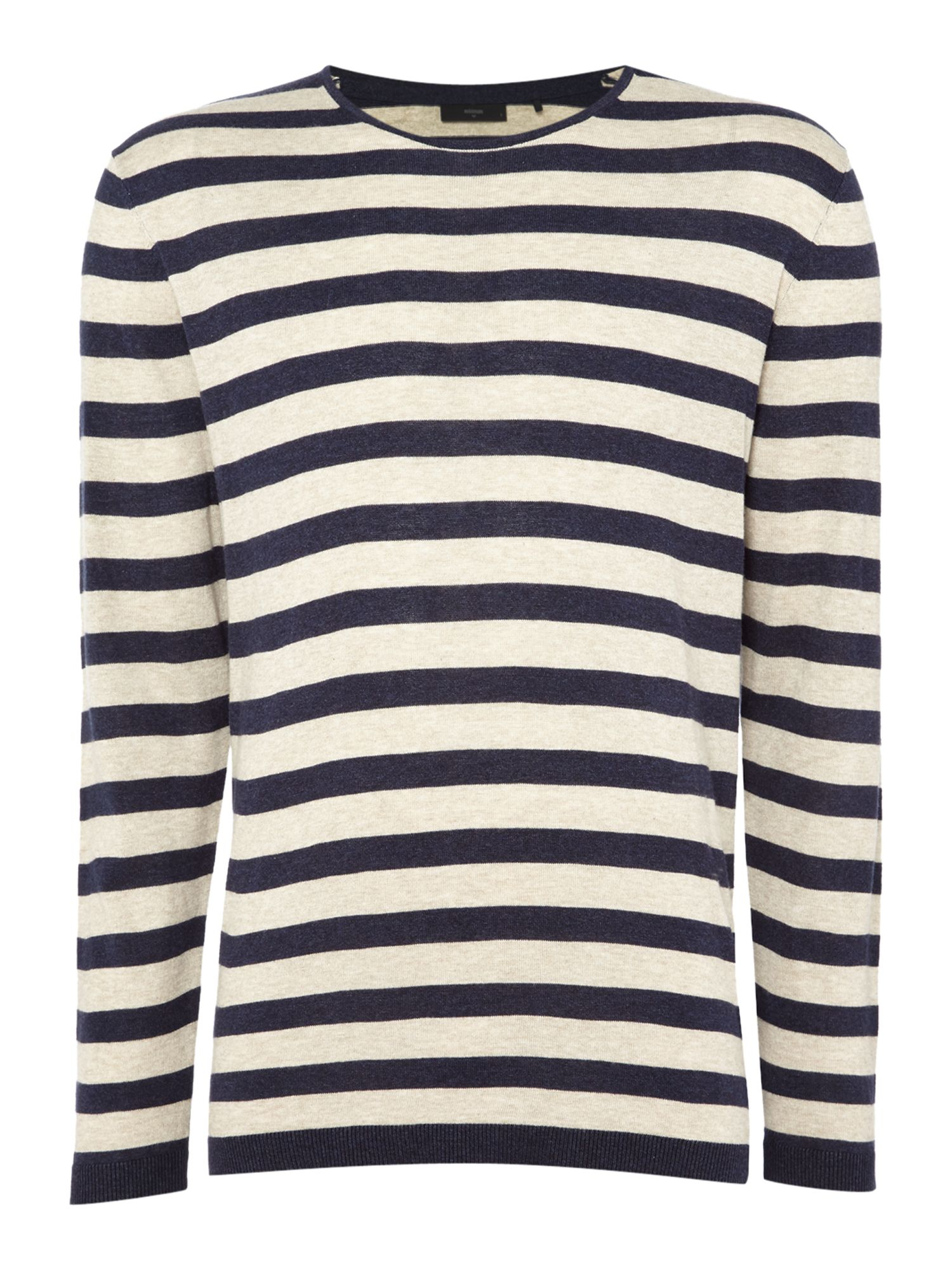 Men's Minimum Crew Neck Striped Jumper, Dark Blue