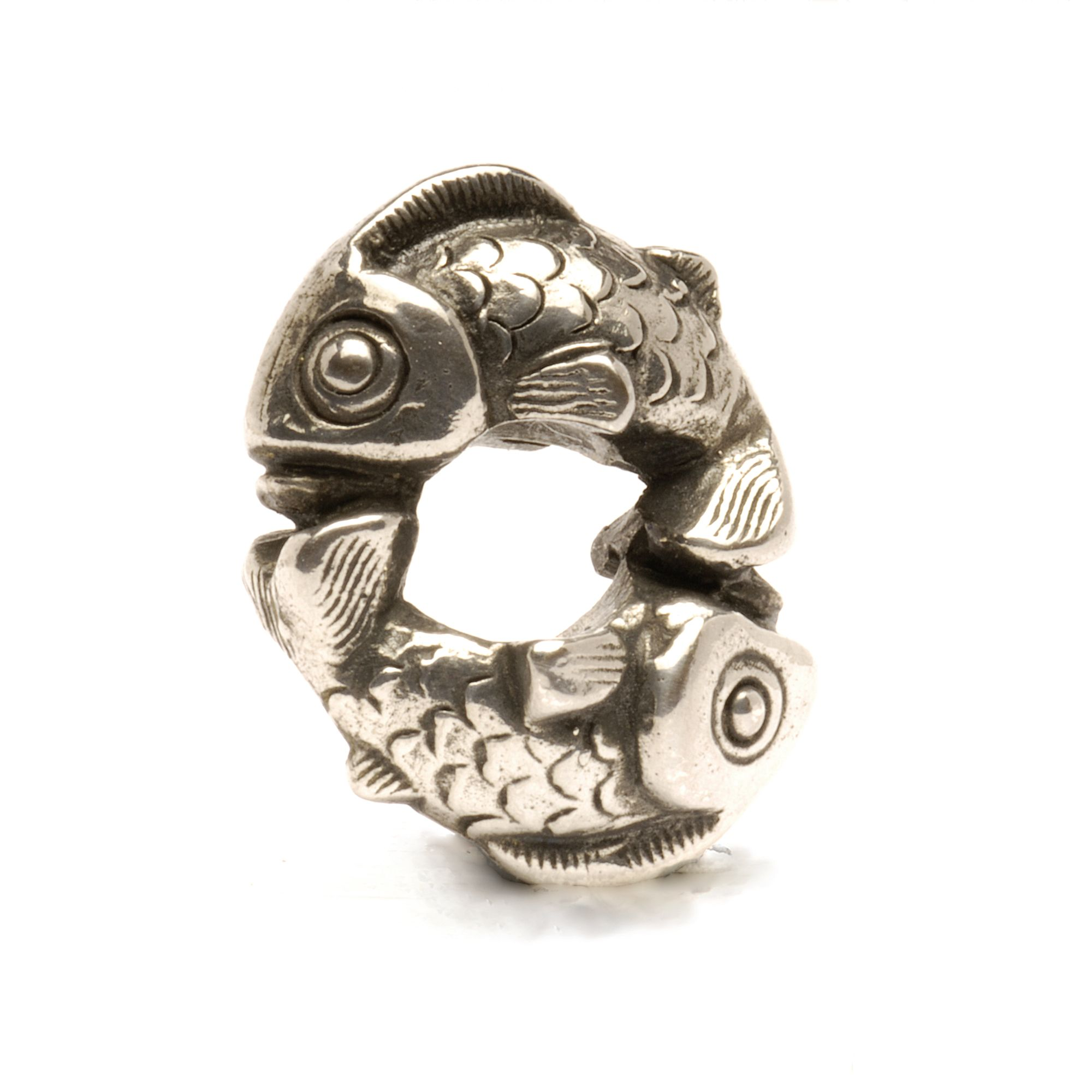 Happy Fish silver charm bead