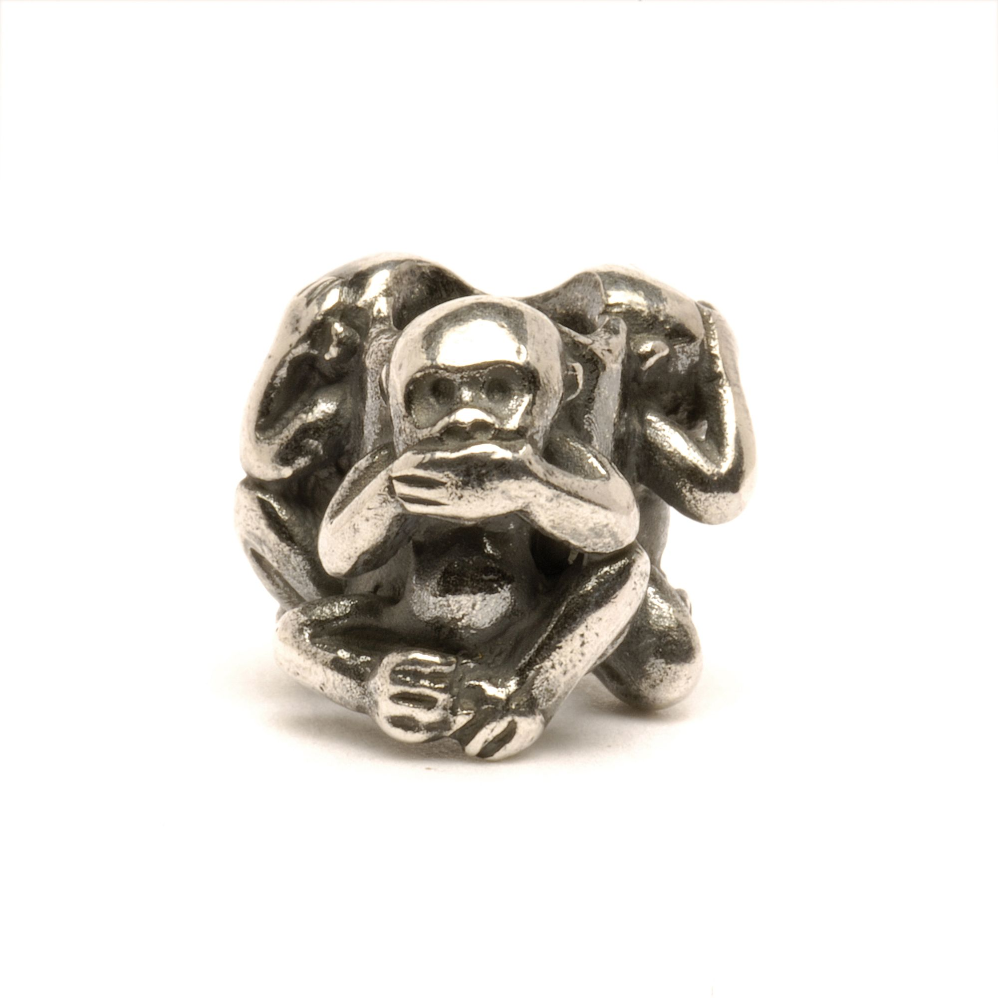 Three Monkeys silver charm bead