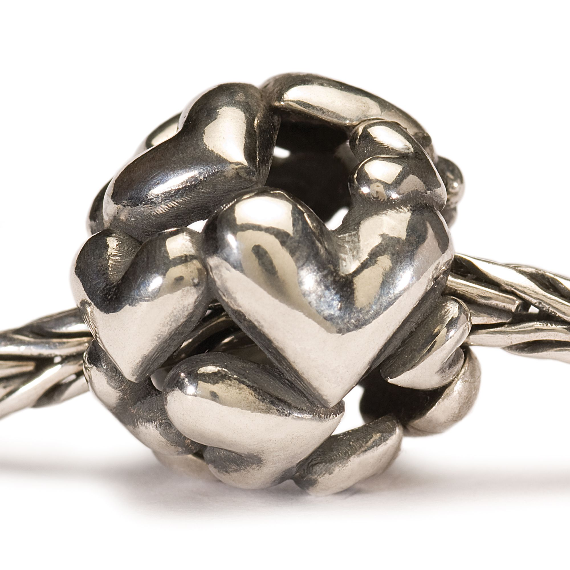 Heart Ball silver charm bead
