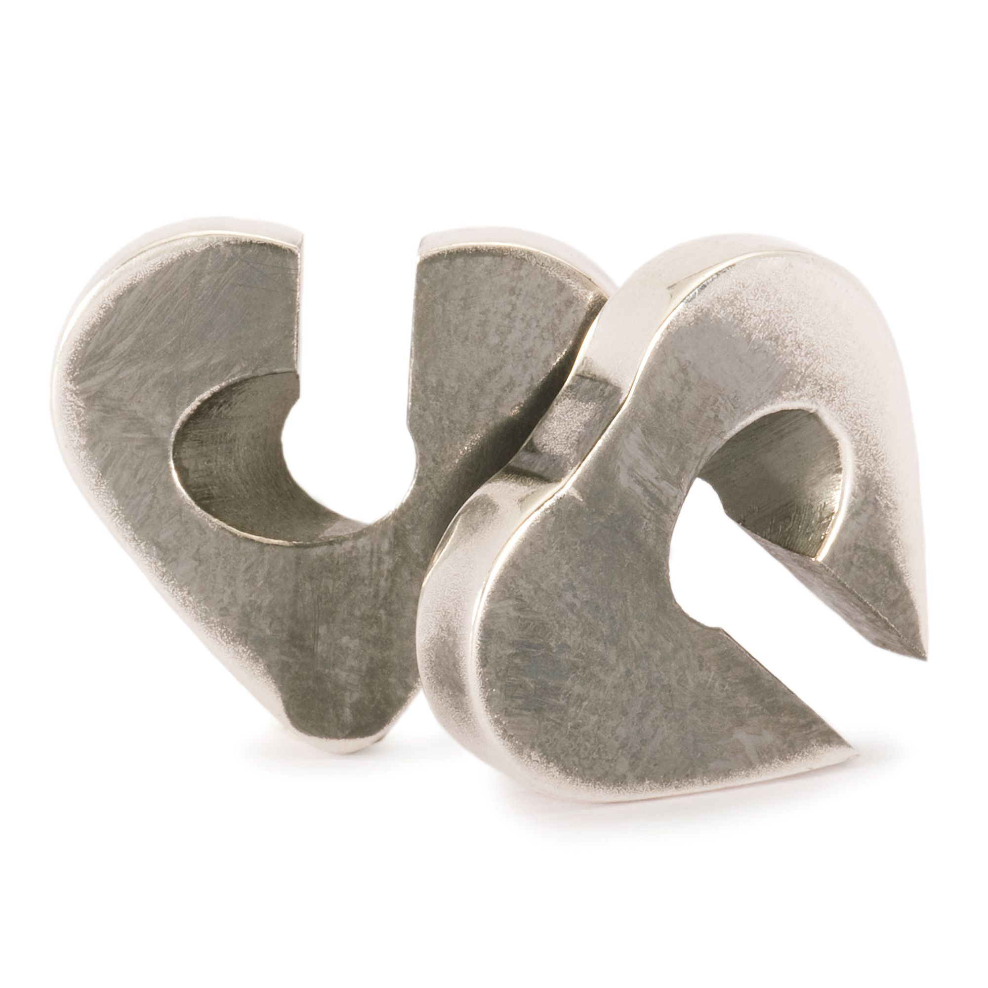 Double Heart silver charm bead