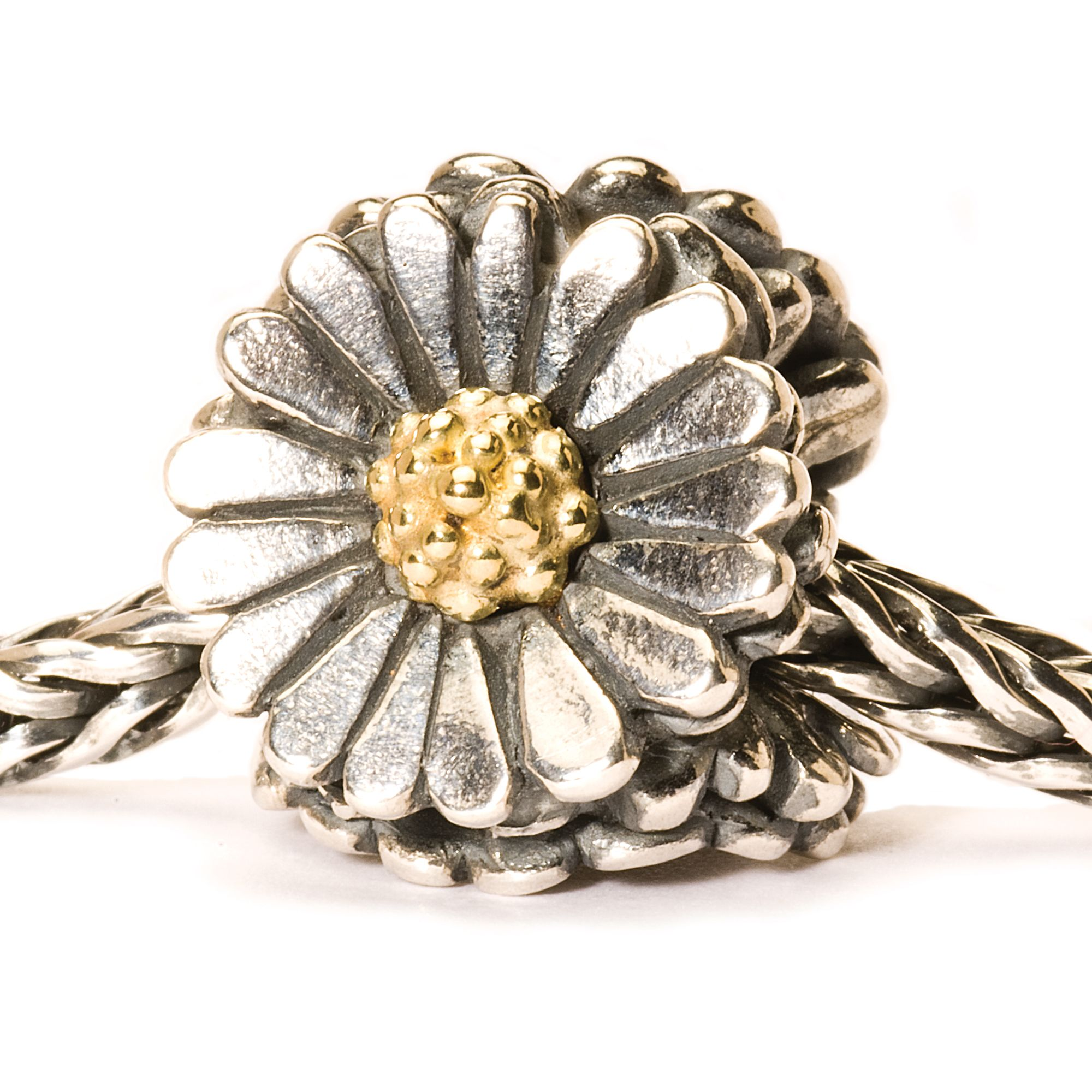 Daisy silver and gold charm bead