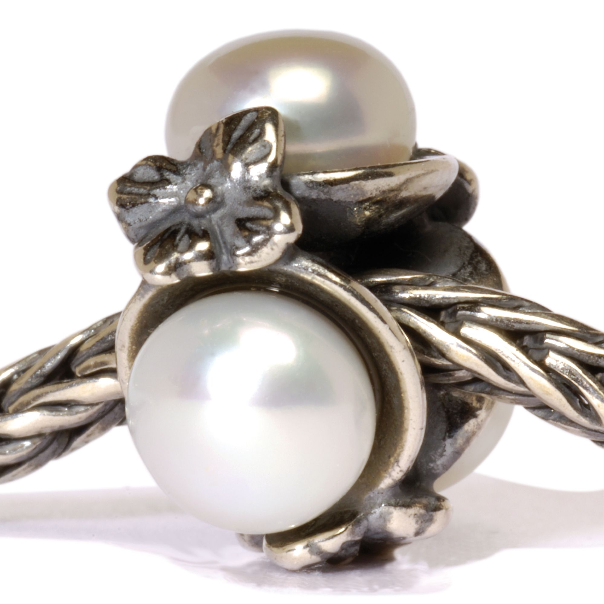 Triple Pearl silver and stone charm bead