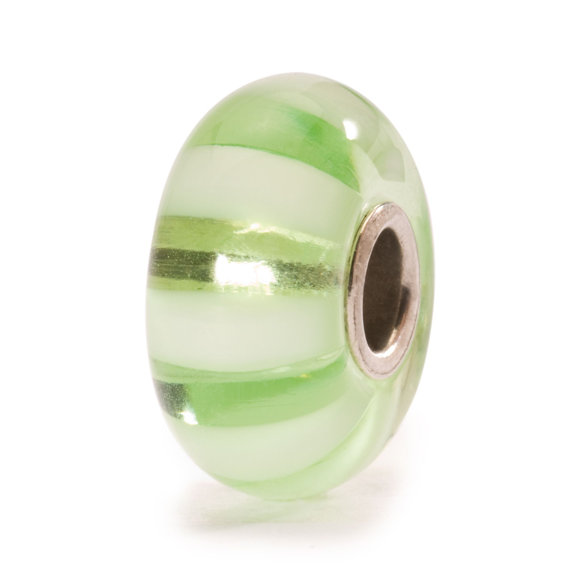 Light Green Striped Glass Bead