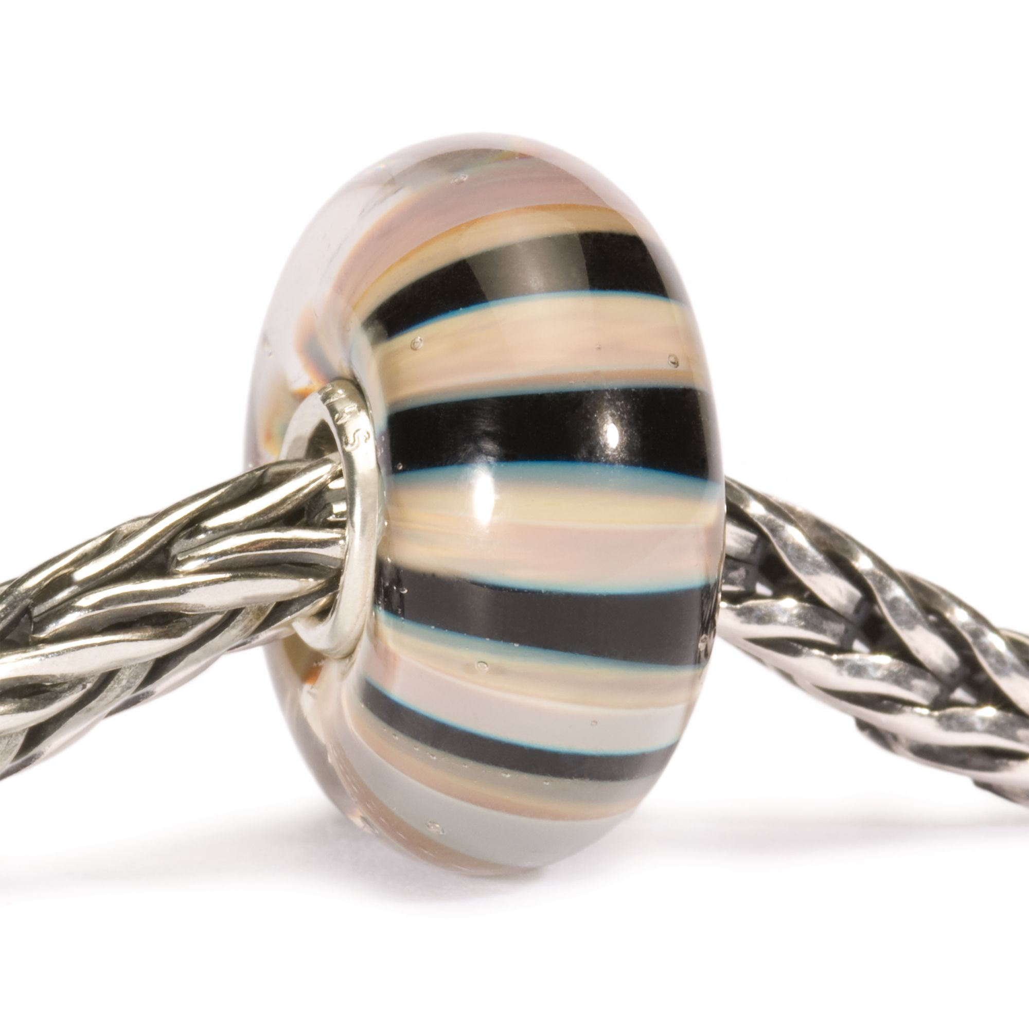 Khaki Striped Glass Bead