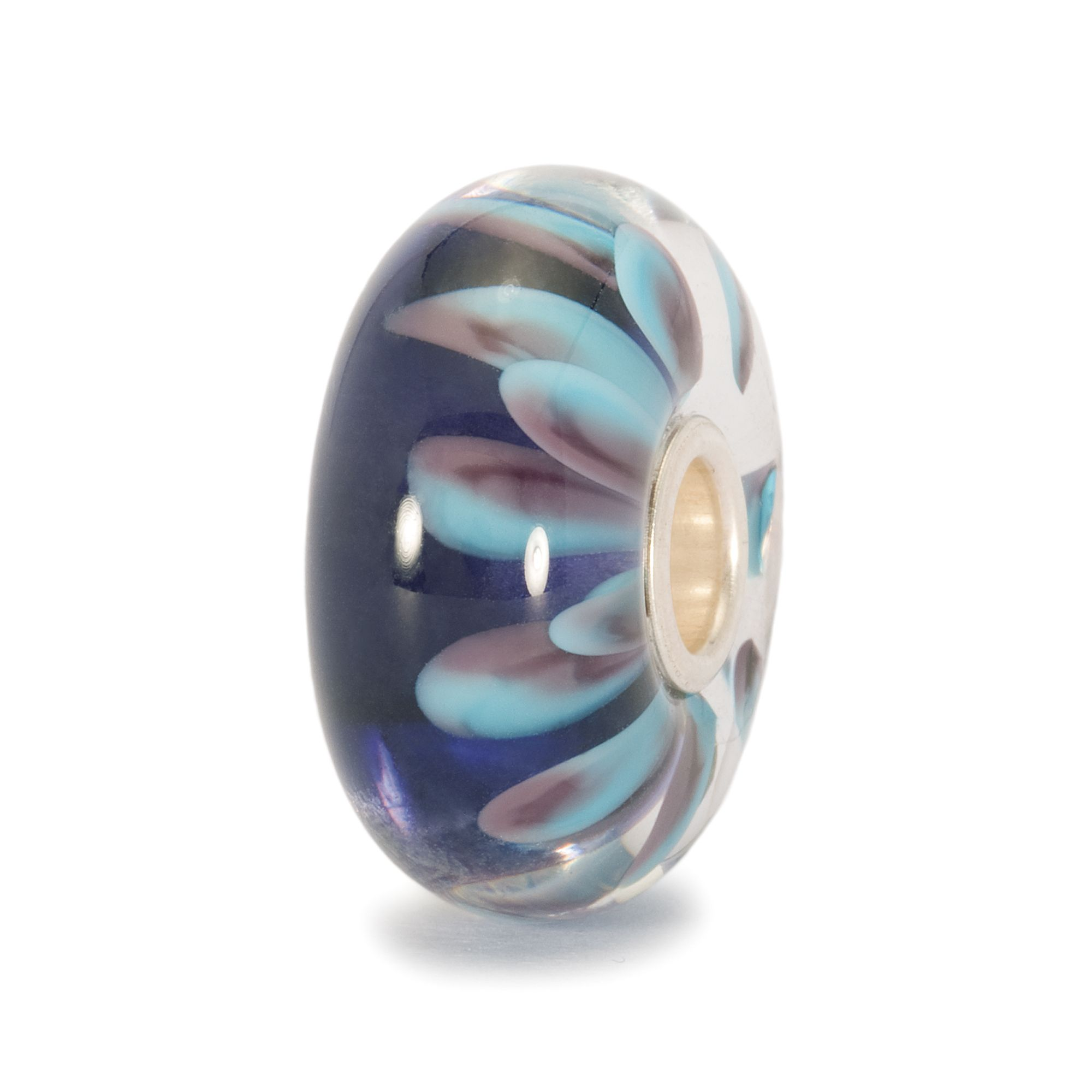 Blue Petal glass charm bead