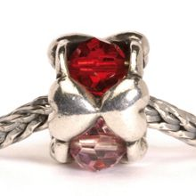 Valentine silver and glass charm bead
