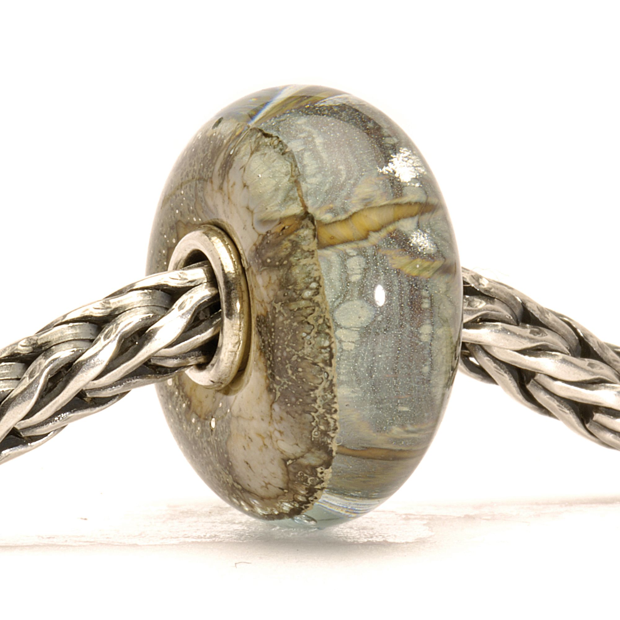 Silver Mountain glass charm bead