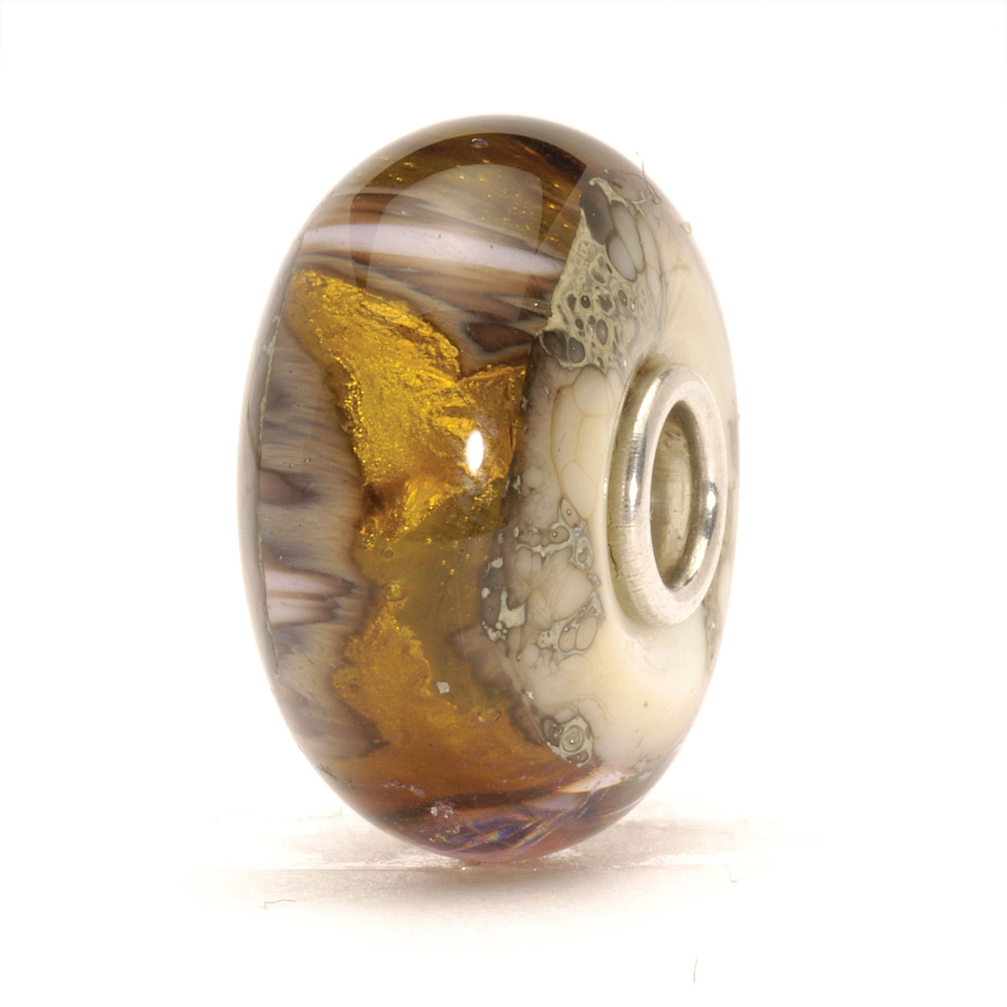 Golden Cave glass charm bead