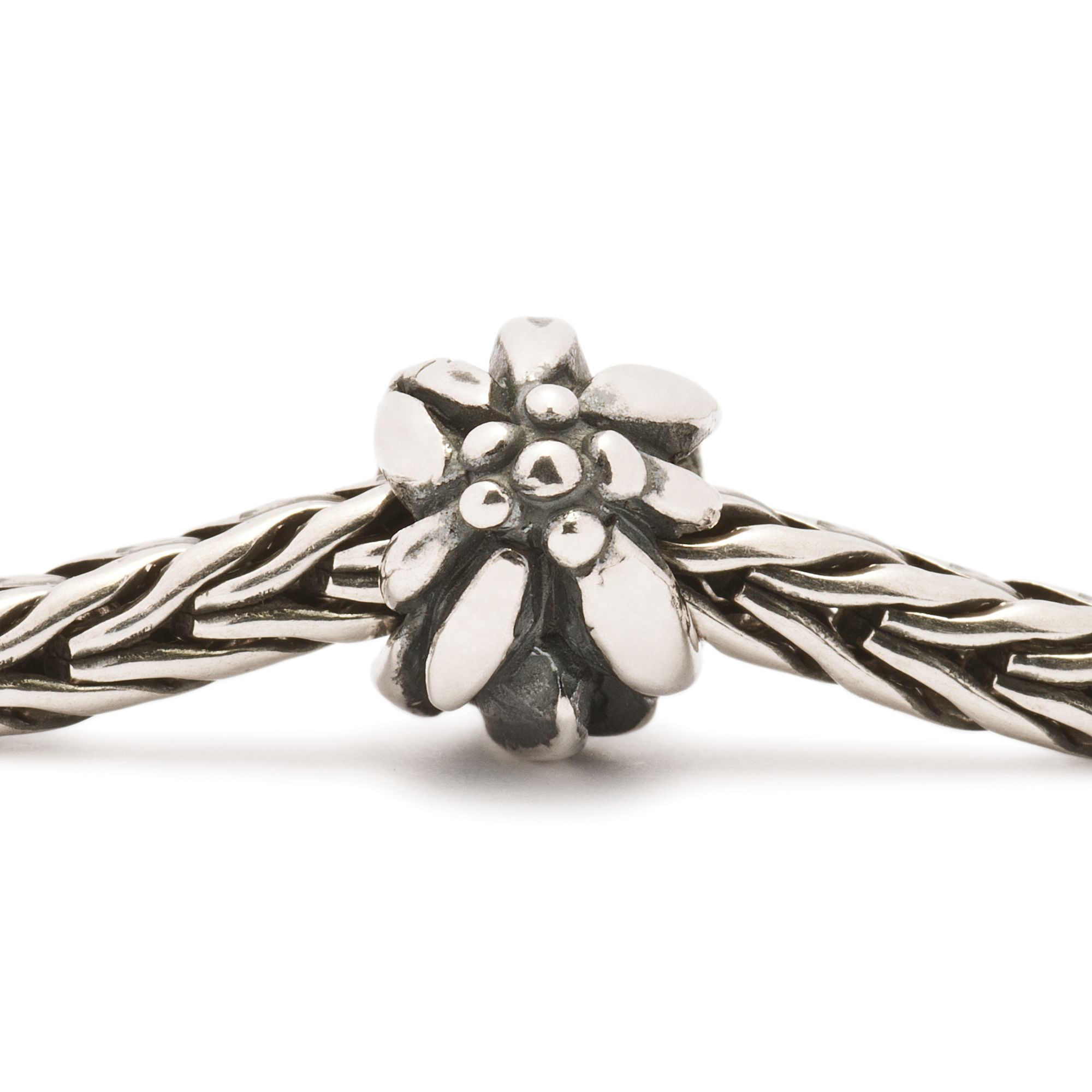 Mountain Flower silver charm bead