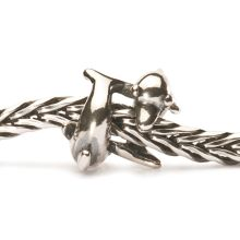 Playing dolphins silver charm bead