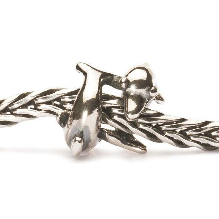 Trollbeads Playing dolphins silver charm bead