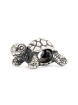 African tortoise sterling silver charm bead