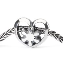 Crystal Heart Silver Bead