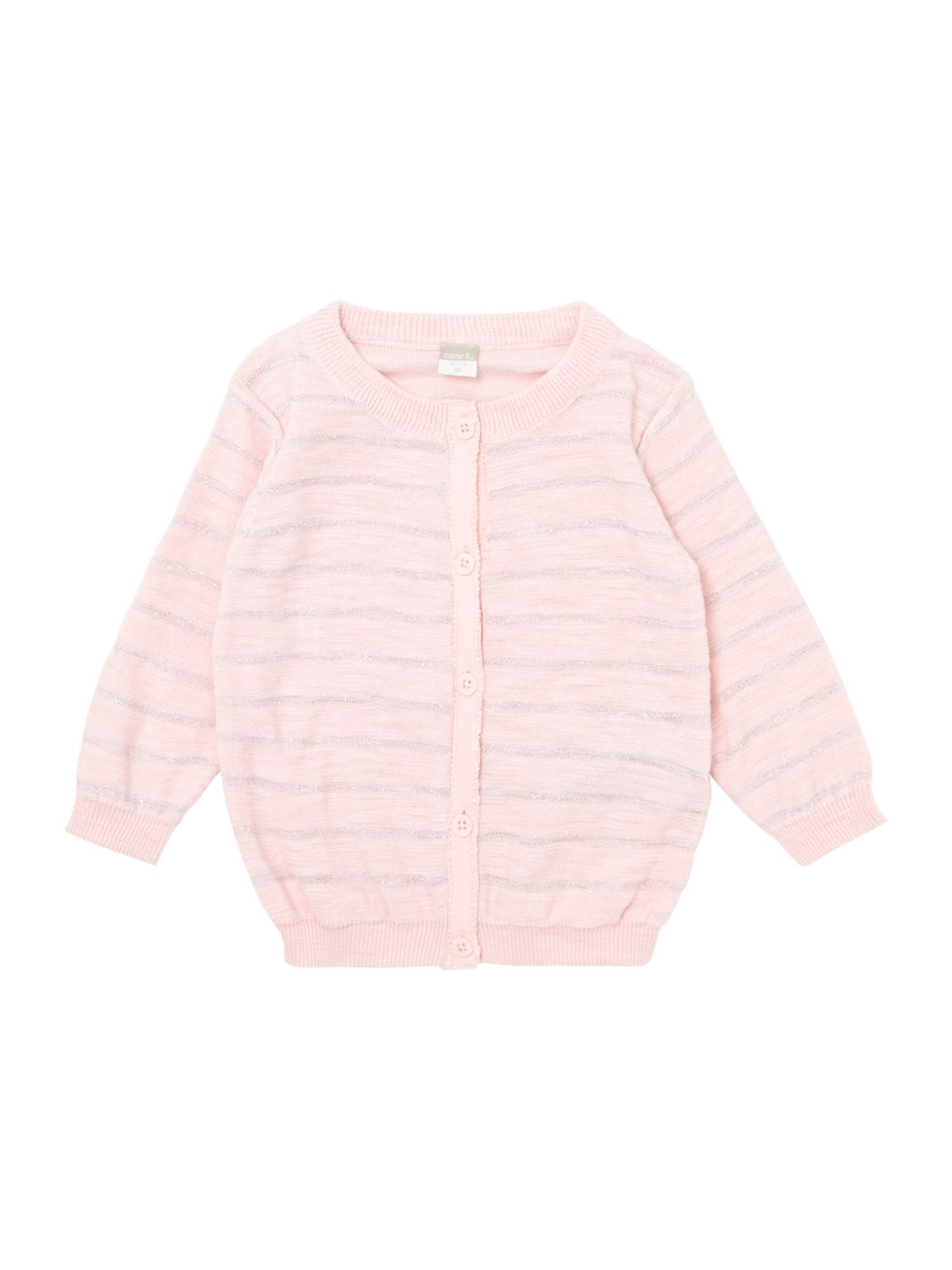 Girls lurex striped cardigan
