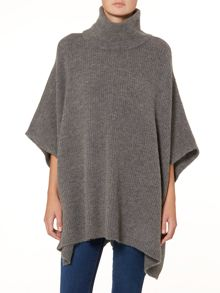 Comfortable Plain Poncho with turtle neck
