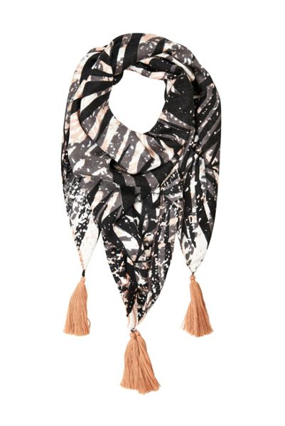 Soaked in Luxury Leaf Print Tassel Scarf