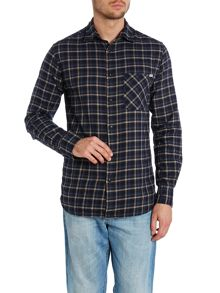 Micro check flannel shirt
