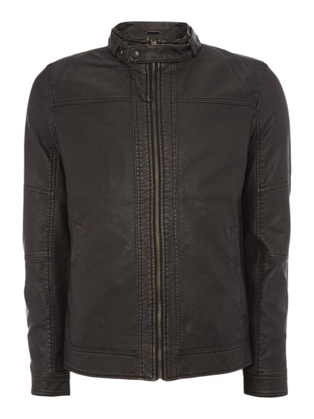 Jack & Jones Mens PU biker jacket