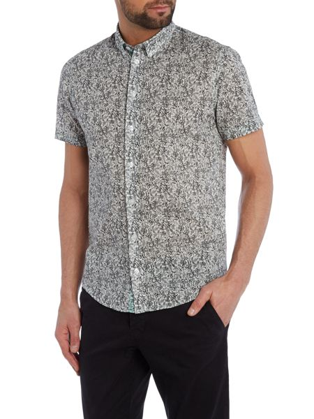 Casual Friday Print Slim Fit Short Sleeve Button Down Shirt