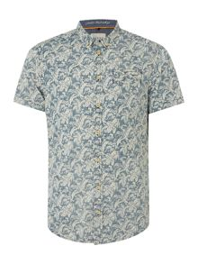 Blend Floral Slim Fit Short Sleeve Button Down Shirt