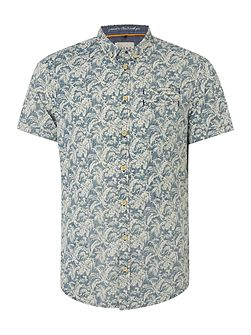 Floral Slim Fit Short Sleeve Button Down Shirt