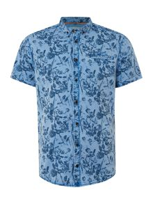 Blend Print Slim Fit Short Sleeve Button Down Shirt