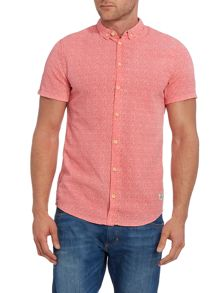Plain Slim Fit Short Sleeve Button Down Shirt