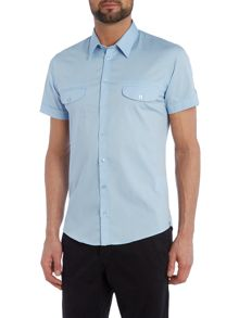 Casual Friday Plain Slim Fit Short Sleeve Classic Collar Shirt