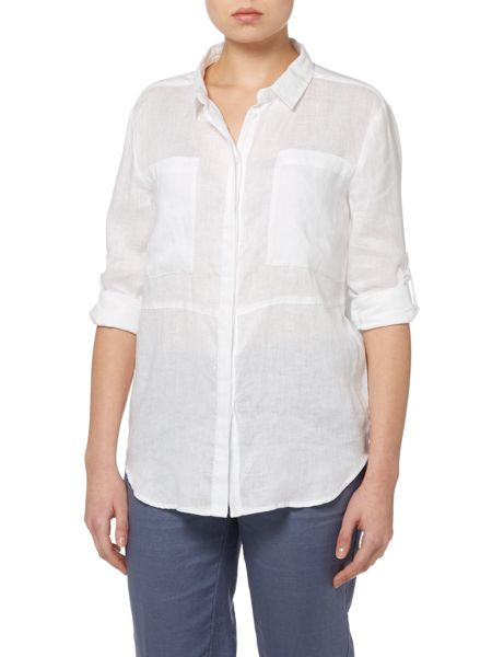 Part Two Linen shirt with large front pockets