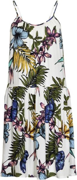 Soaked in Luxury Tropical Print Halter Dress