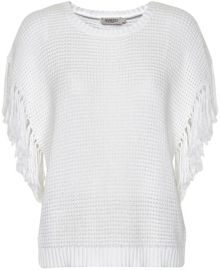 Soaked in Luxury Cotton Jumper With Fringed Detailing