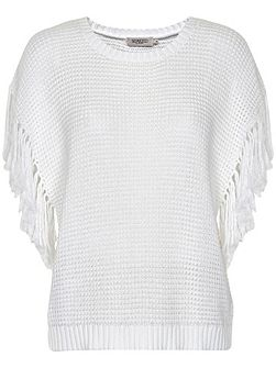 Cotton Jumper With Fringed Detailing