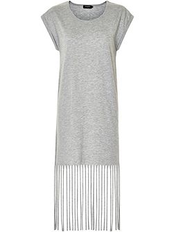 T-Shirt Dress With Fringe Hem