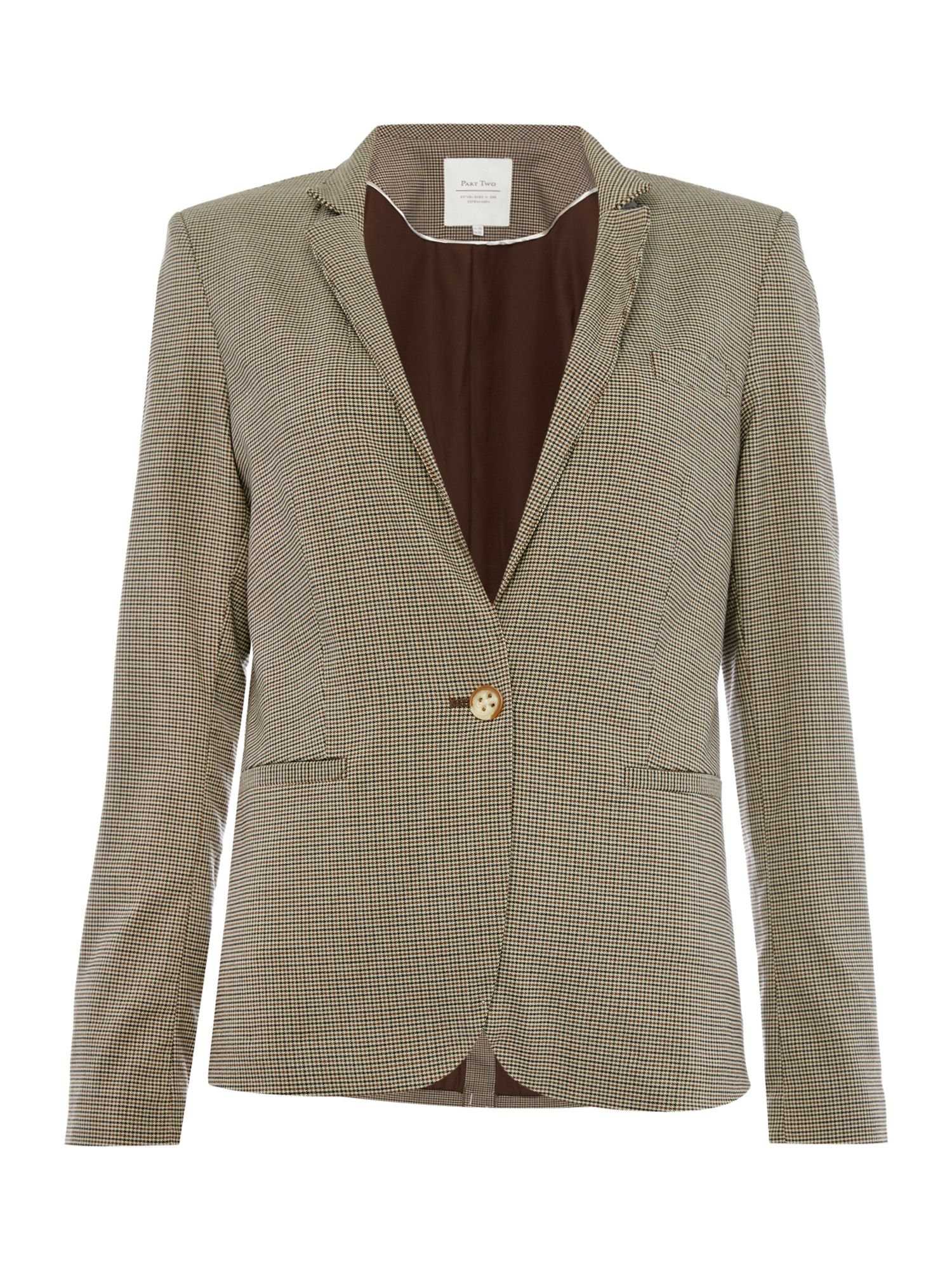 Part Two Part Two Check blazer in a comfortable fabric, Brown