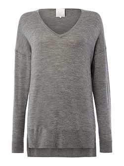 Soft merino wool pullover with drop shoulders