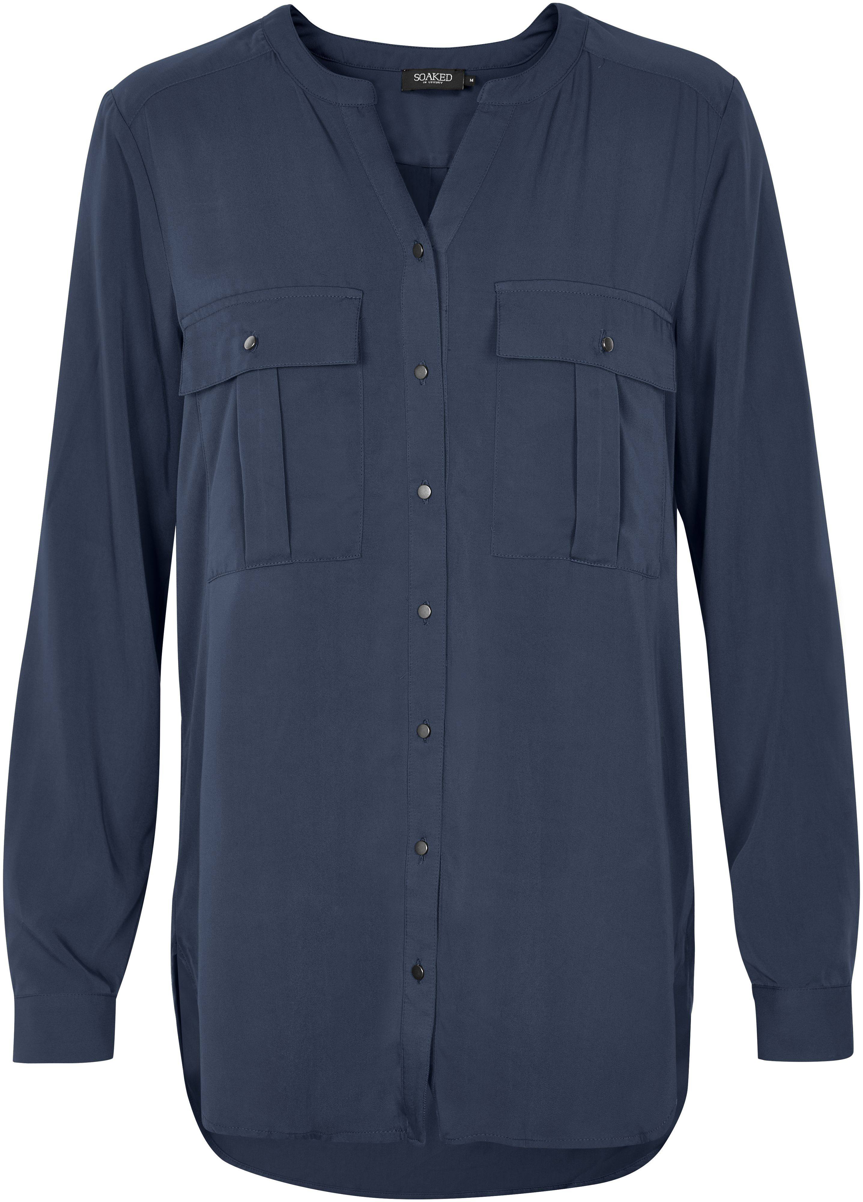 Soaked in Luxury Soaked in Luxury Flat Collar Shirt, Blue