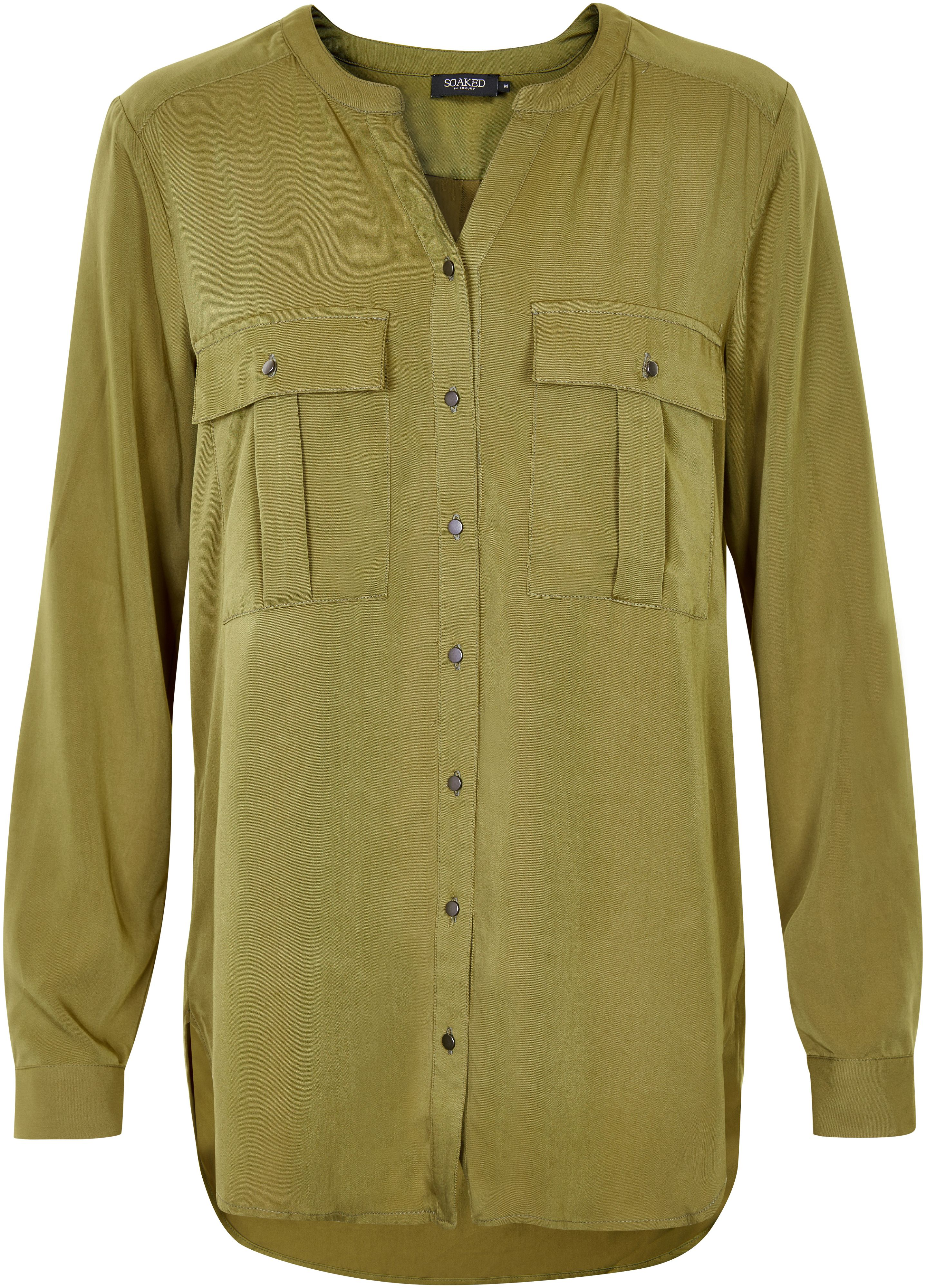 Soaked in Luxury Soaked in Luxury Flat Collar Shirt, Green